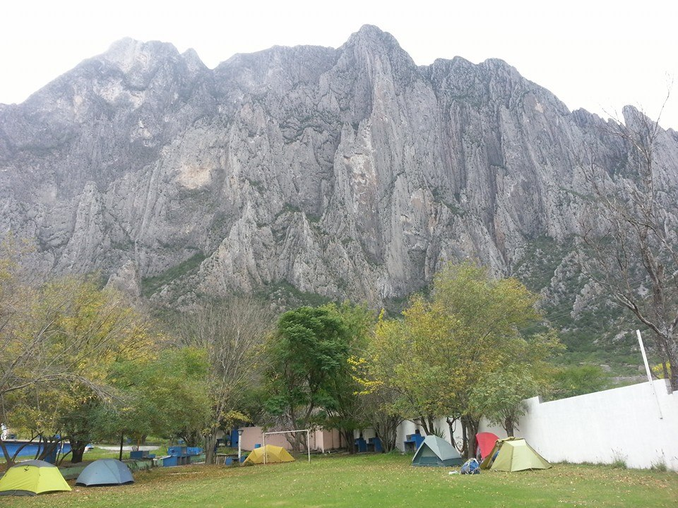 An image of El Sendero Luminoso, a famous route in El Potrero Chico where simul rappelling is common.
